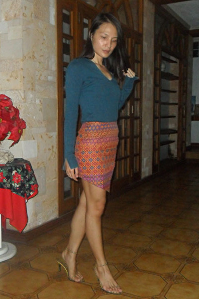 Customized skirt - teal Sisley top - gold DIY heels