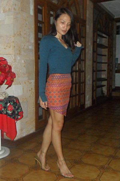 Customized skirt - teal Sisley top - gold DIY heels