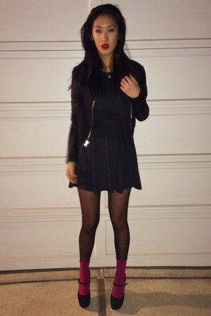 black Charlotte Russe pumps - velvet brandy melville dress