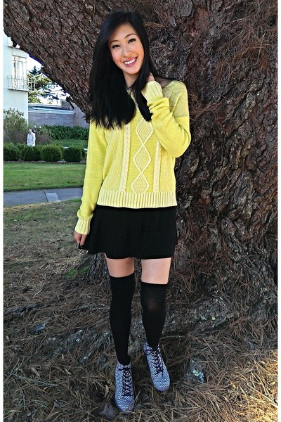 neon Target sweater - booties Charlotte Russe boots - knee high socks H&M socks
