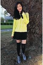 neon Target sweater - booties Charlotte Russe boots - knee high socks H&M socks