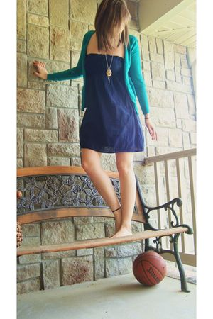 blue Forever21 dress - green H&M cardigan - silver Wet Seal necklace