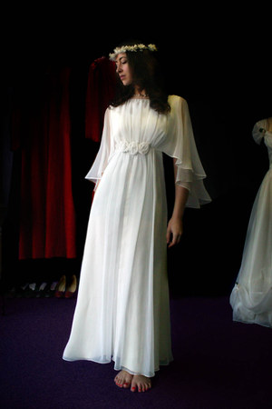 white chiffon vintage dress