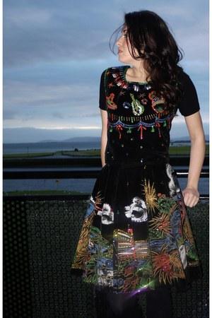sequined vintage skirt - painted vintage top