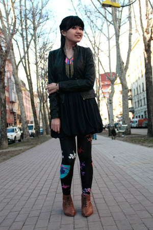 black versace leggings - bronze Zara shoes - black Lefties jacket