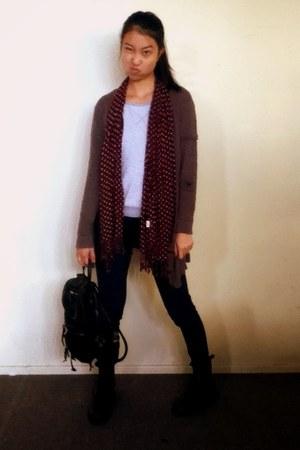 Sportsgirl scarf - H&M boots - Uniqlo jeans - rubi bag - bonds sweatshirt