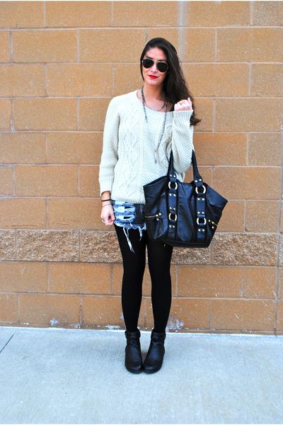 black H&M boots - ivory sweater - black Spanx tights - black bag