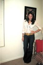 navy Gap jeans - camel ostrich Vintage Fendi belt - ivory Cope blouse - tawny no