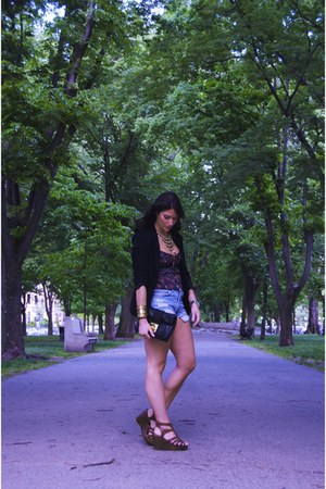 black blazer - black purse - periwinkle shorts - bronze necklace - red top - bro