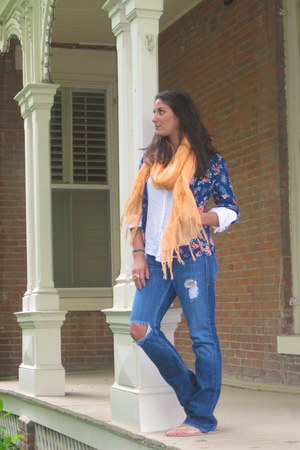 blue William Rast jeans - navy Forever21 blazer - light orange scarf - white blo
