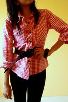 blouse - blouse - Jewel leggings - belt - accessories
