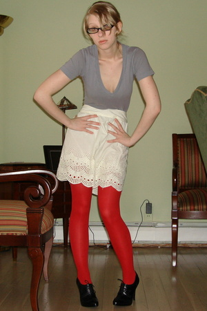 American Apparel t-shirt - Urban Outfitters skirt - tights - BCBG shoes