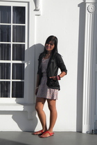 red Topshop dress - black Plains & Prints blazer - red Steve Madden shoes - pink