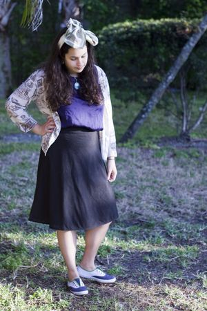 white vintage accessories - purple H&M shirt - black Old Navy skirt - blue Keds