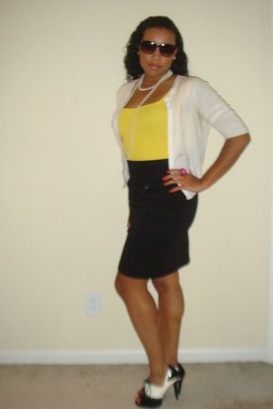 black skirt - white cardigan - yellow shirt