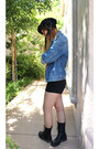 Blue-jacket-levis-jacket-black-doc-martens-boots-black-h-m-shorts