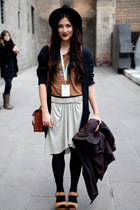 shirt - purse - skirt - cardigan - wedges