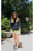dark gray tip spiked Steve Madden loafers - chartreuse dip-dye XXI shorts