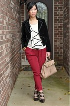 Minuet top - Forever 21 jacket - tan satchel Aldo bag - Bakers heels