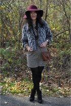 faux fur Forever 21 coat - Akira dress - maroon felt new york and co hat