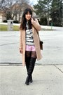 Black-wild-diva-boots-tan-forever-21-coat-cream-love-moschino-sweater