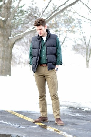 black puffy Old Navy vest - Clarks shoes - Kenneth Cole shirt - Old Navy pants