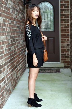 black Forever 21 dress - bronze coach bag