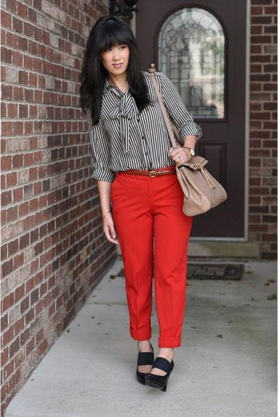 Forever 21 shirt - tan satchel Aldo bag - Express pants