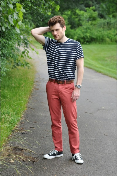 Coral Old Navy Slim Fit Pants | Chictopia