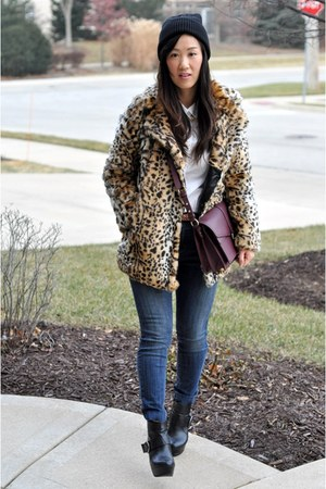 camel Forever 21 coat - black ankle Dollhouse boots - blue BDG jeans