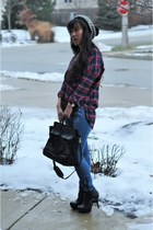 maroon flannel tunic Forever 21 shirt - black zip up ankle Dollhouse boots
