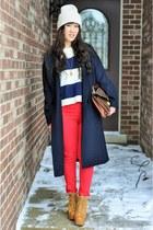 navy Stylenanda coat - bronze Jeffrey Campbell boots - red skinny TJ Maxx jeans