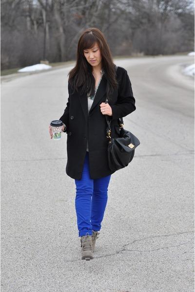 Mango coat - DV by dolce vita boots - bright blue indigo rein jeans