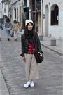 Eggshell-knit-beanie-asos-hat-black-leather-zara-jacket-red-shirt