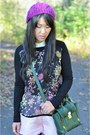 Forever-21-shirt-black-the-limited-tights-forest-green-31-phillip-lim-bag