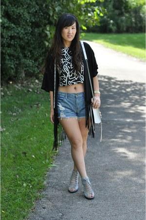 black Zara top - white Rebecca Minkoff bag - sky blue Forever 21 shorts