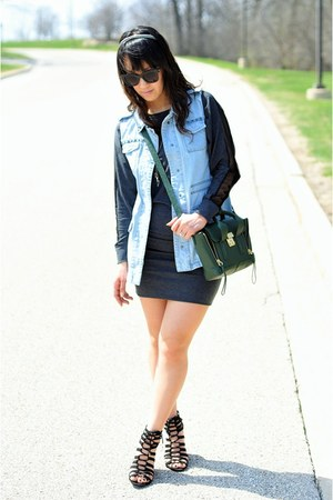 sky blue H&M vest - gray redopin dress - forest green 31 Phillip Lim bag