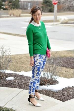 Zara heels - green Forever 21 sweater - hot pink clutch Bakers bag