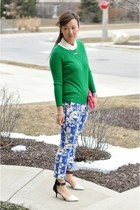 Zara heels - green Forever 21 sweater - hot pink clutch Bakers bag
