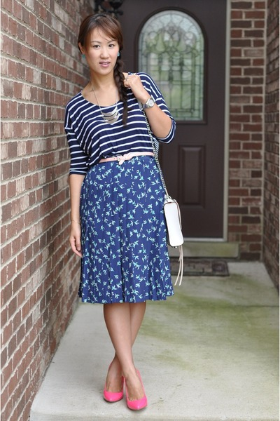 blue Forever 21 skirt - white Rebecca Minkoff bag