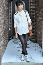 beaded tunic Forever 21 shirt - metal buckle Jeffrey Campbell boots - coach bag