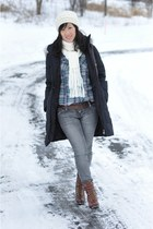 brown lace up Kenneth Cole boots - black puffy Guess coat