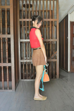 brown flare shorts - red sheer top - cream rounded romwe glasses