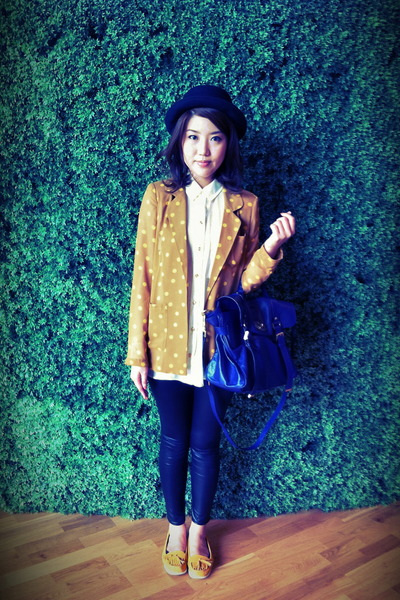 mustard ploka dot asos blazer - white Newlook shirt - violet Mulberry bag
