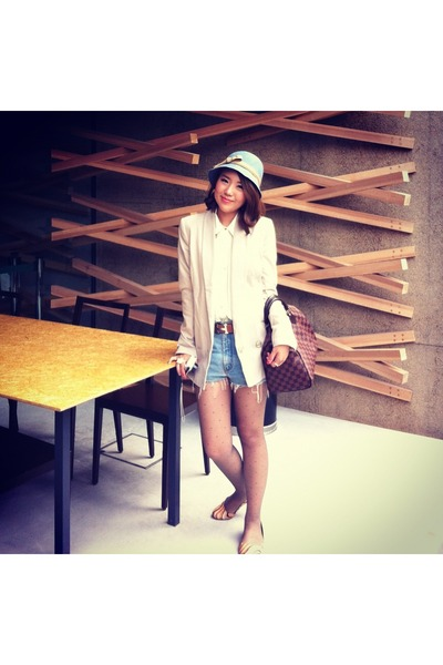 eggshell H&M blazer - brown Louis Vuitton bag - carrot orange Paul Smith flats
