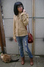 Beige-forever-21-jacket-brown-zizibeth-boots-red-thrifted-purse