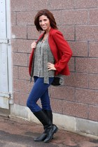 red vintage blazer - Gap jeans - Avery blouse