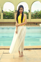 white maxi thrifted skirt - yellow pleated vintage top
