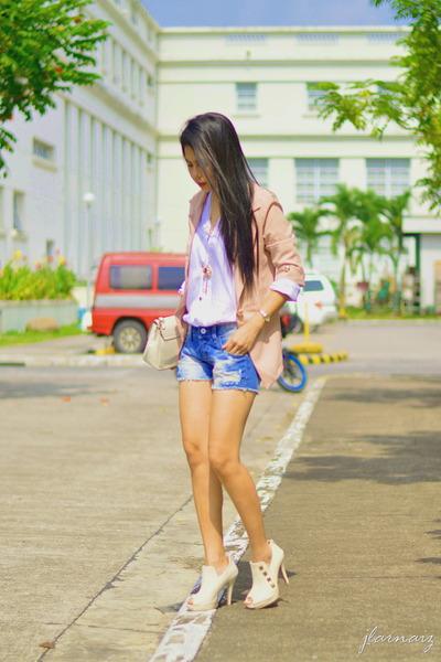 peach thrifted blazer - light blue vintage shorts - white cotton vintage top