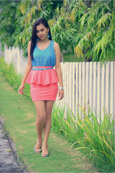 bubble gum peplum cotton vintage skirt - sky blue racerback coco cabana top